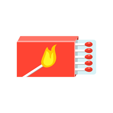 box of matches: Box With Matches Flat Bright Color Primitive Drawn Vector Icon Isolated On White Background