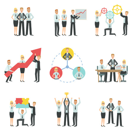 finance department: Business Team Working Together Achievement Process Infographic Simple Childish Flat Colorful Illustration On White Background Illustration