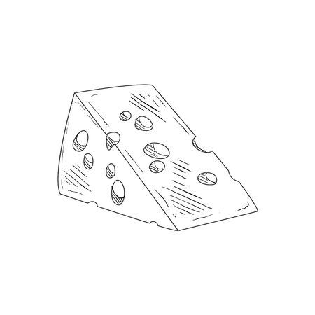 swiss cheese: Piece Of Swiss Cheese Hand Drawn Realistic Detailed Sketch In Classy Simple Pencil Style On White Background