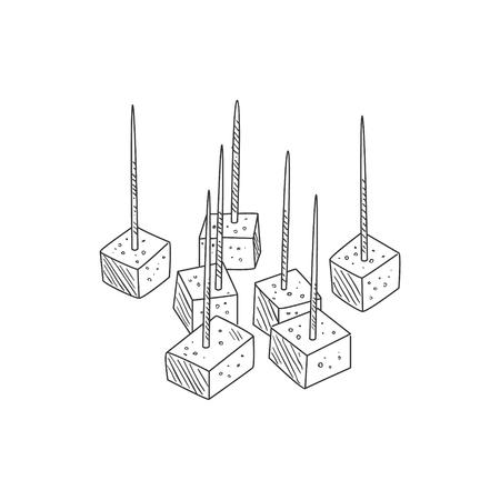 Piccoli pezzi di formaggio sullo schizzo dettagliato realistico disegnato a mano dei Toothpicks nello stile semplice di classe della matita su fondo bianco Vettoriali