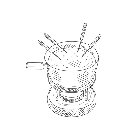french fancy: Bowl With Cheese Fondue Hand Drawn Realistic Detailed Sketch In Classy Simple Pencil Style On White Background