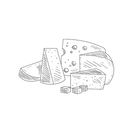 french fancy: Cheese Assortment Plate Hand Drawn Realistic Detailed Sketch In Classy Simple Pencil Style On White Background Illustration