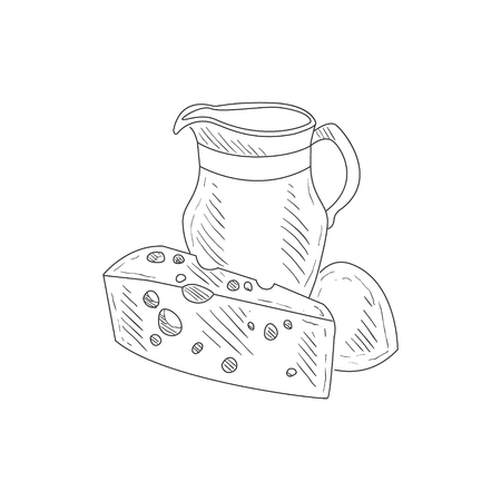 Cheese, Milk And Bread Hand Drawn Realistic Detailed Sketch In Classy Simple Pencil Style On White Background Illustration