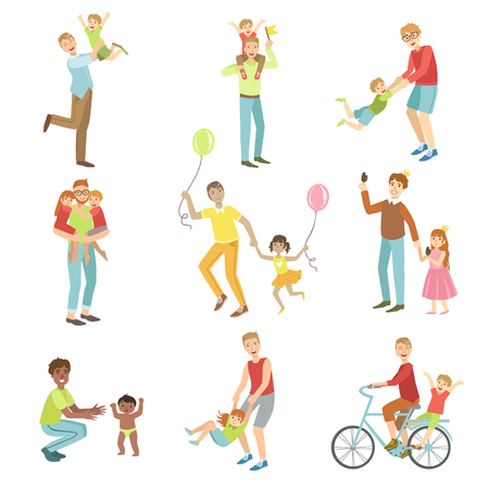 Fathers Playing With Kids Set Of Simple Childish Flat Colorful Illustrations On White Background