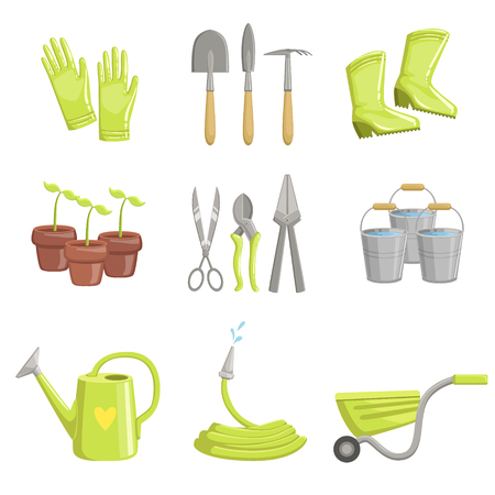 Gardening Equipment Set Of Simple Realistic Bright Flat Colorful Illustrations On White Background