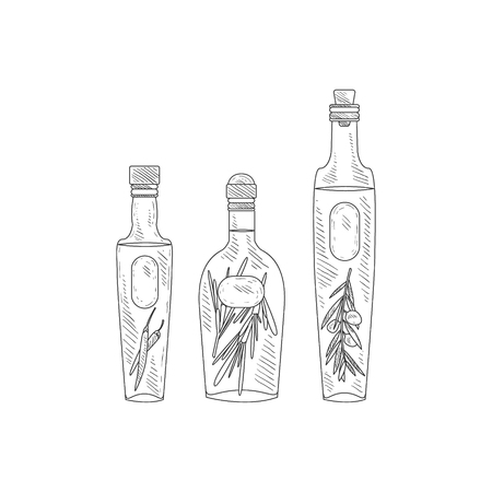 assortment: Olive Oil With Herbs Assortment Hand Drawn Realistic Detailed Sketch In Classy Simple Pencil Style On White Background