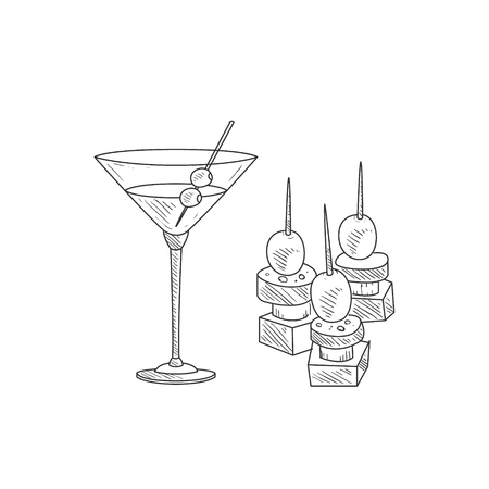 Martini Cocktail With Olive And Canape Hand Drawn Realistic Detailed Sketch In Classy Simple Pencil Style On White Background