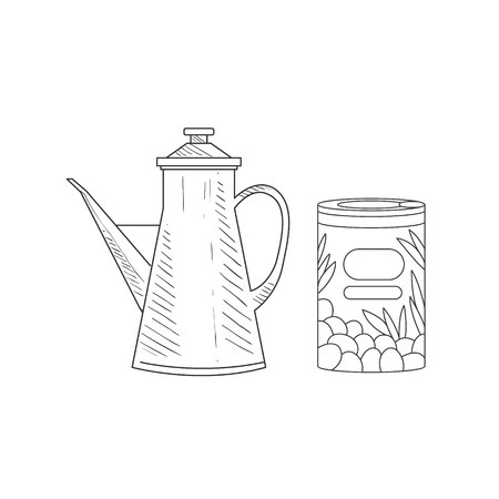 oldschool: Can Of Olives And Old-school Pitcher Hand Drawn Realistic Detailed Sketch In Classy Simple Pencil Style On White Background Illustration