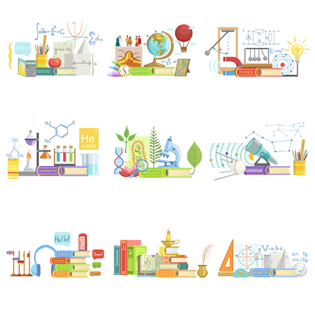 school kit: Different Sciences Related Objects Composition, Simple Childish Flat Colorful Illustration On White Background