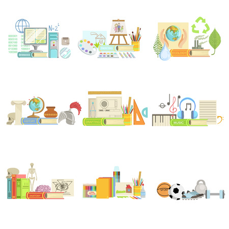 sciences: Different School Classes And Sciences Related Objects Cmpositions. Simple Childish Flat Colorful Illustration On White Background