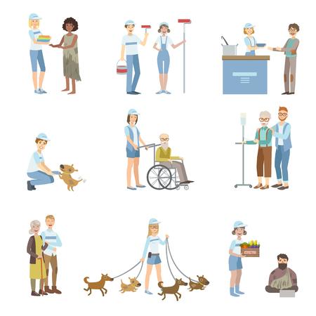 Hilfe Freiwilliger in verschiedenen Situationen Illustrationen auf weißen Hintergrund. Vereinfachte Cartoon-Figuren Set