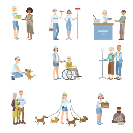 hospice: Volunteers Helping In Different Situations Illustrations Isolated On White Background. Simplified Cartoon Characters Set Illustration