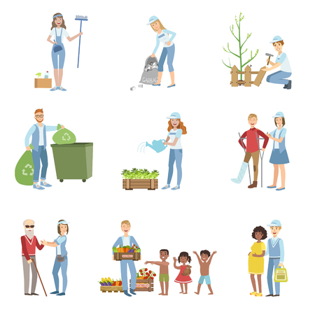 simplified: People Volunteers In Different Situations Illustrations Isolated On White Background. Simplified Cartoon Characters Set