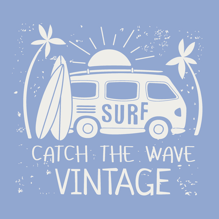 wave surfing: Catching The Wave Surfing Illustration With Van And Text White On Light Blue Background. Flat Vector Simple Sticker Design.