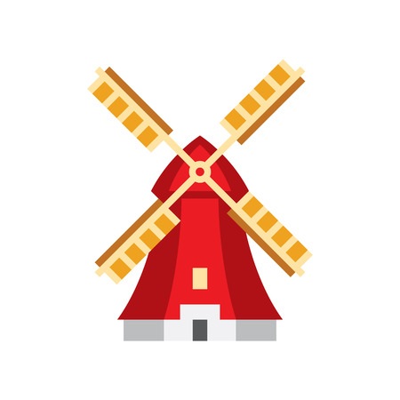 touristic: Holandaise Windmill Flat Bright Color Primitive Drawn Vector Icon Isolated On White Background