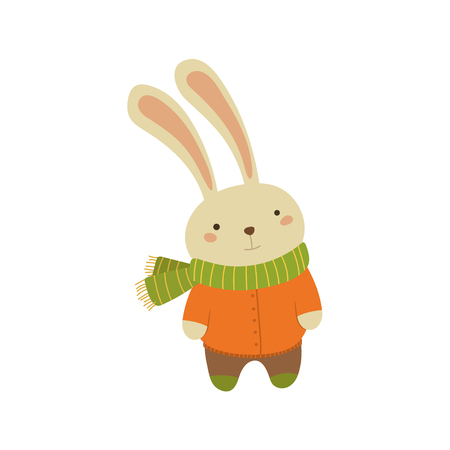 white coat: Rabbit In Orange Warm Coat Adorable Cartoon Character. Stylized Simple Flat Vector Colorful Drawing On White Background.