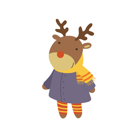 simple girl: Girl Deer In Blue Warm Coat Adorable Cartoon Character. Stylized Simple Flat Vector Colorful Drawing On White Background.