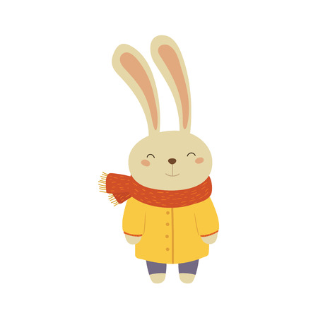 white coat: Bunny In Yellow Warm Coat Adorable Cartoon Character. Stylized Simple Flat Vector Colorful Drawing On White Background. Illustration