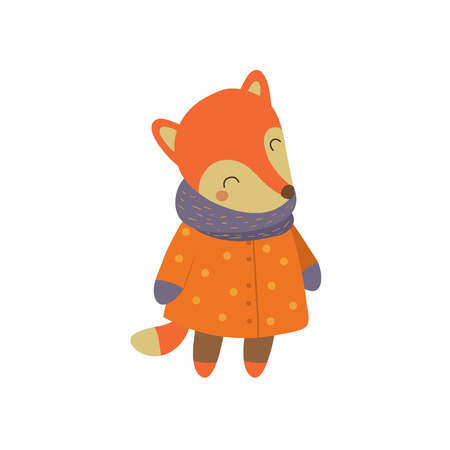 simple girl: Girl Fox In Orange Warm Coat Adorable Cartoon Character. Stylized Simple Flat Vector Colorful Drawing On White Background.