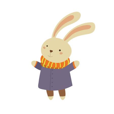 white coat: Bunny in Blue Warm Coat Adorable Cartoon Character. Stylized Simple Flat Vector Colorful Drawing On White Background.