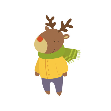 60085693 boy deer in yellow warm coat adorable cartoon character stylized simple flat vector colorful drawing on white background