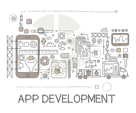 parameter: App Development Process Elements Creative Sketch Infographic. Cool Vector Hand Drawn Illustration In Sketch Style.