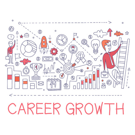 Career Growth Process Elements Creative Sketch Infographic. Cool Vector Hand Drawn Illustration In Sketch Style.