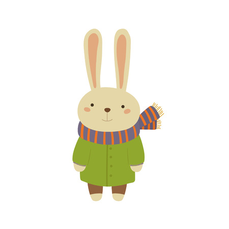white coat: Rabbit In Green Warm Coat Adorable Cartoon Character. Stylized Simple Flat Vector Colorful Drawing On White Background.