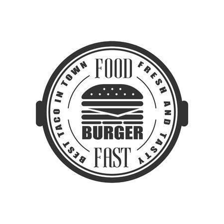 established: Best Burger In Town Logo Graphic Design. Black And White Emblem Vector Print Illustration