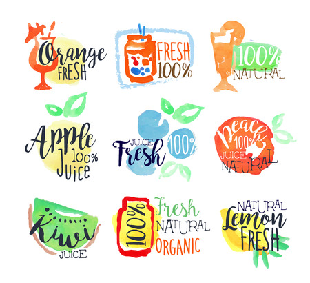 Fresh Fruit Juice Promo segni colorati Set di acquerello stilizzati con il testo su sfondo bianco