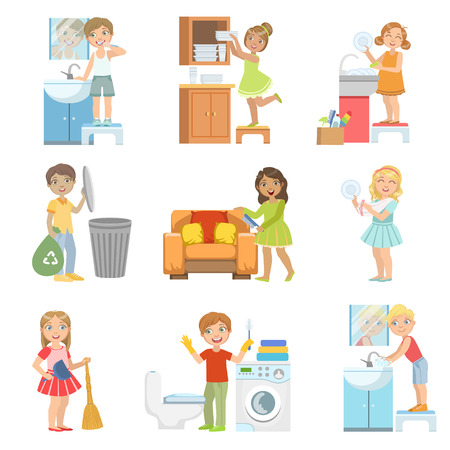 Kinder, die ein Haus Aufräumen Einfache Design Illustrationen im netten Spaß-Cartoon-Stil Set Doing Einzeln auf weißem Hintergrund Standard-Bild - 61245942