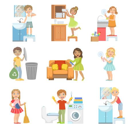 Kinderen Doen A Home Cleanup reeks eenvoudige ontwerp Illustrations In de Pret Cartoon Stijl Op Een Witte Achtergrond