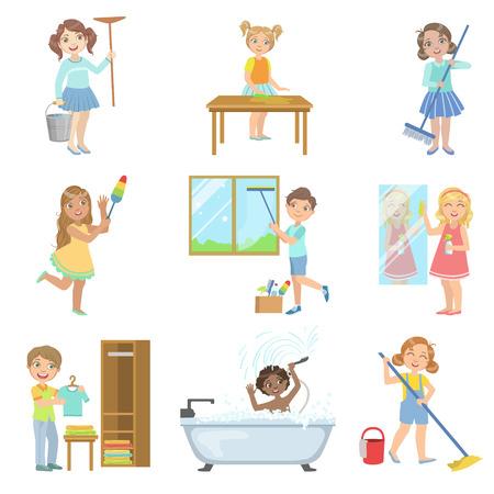 흰색 배경에 고립 된 귀여운 재미있는 만화 스타일에서 간단한 디자인 일러스트레이션의 집합을 청소하는 봄 돕는 어린이