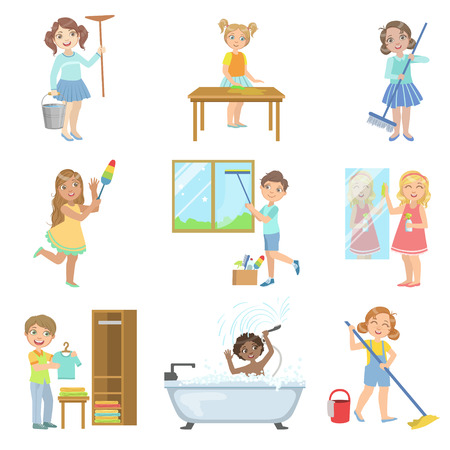 spring cleaning: Children Helping With Spring Cleaning Set Of Simple Design Illustrations In Cute Fun Cartoon Style Isolated On White Background