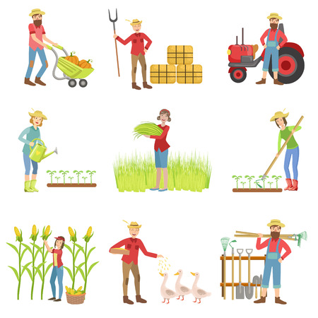 wheel barrel: People Working On The Farm Set Of Simple Childish Flat Colorful Illustrations On White Background Illustration