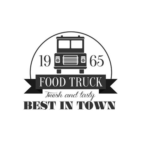 established: Best Cafe On Wheels   Graphic Design. Black And White Emblem Vector Print