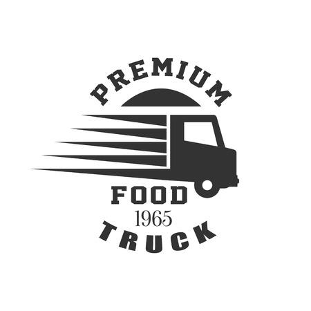 established: Premium Food Truck   Graphic Design. Black And White Emblem Vector Print
