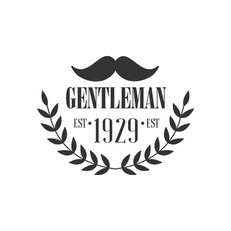 high society: Gentleman Club Label With Moustache In Black And White Graphic Flat Vector Design