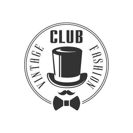 high society: Vintage Fashion Club Label In Black And White Graphic Flat Vector Design Illustration