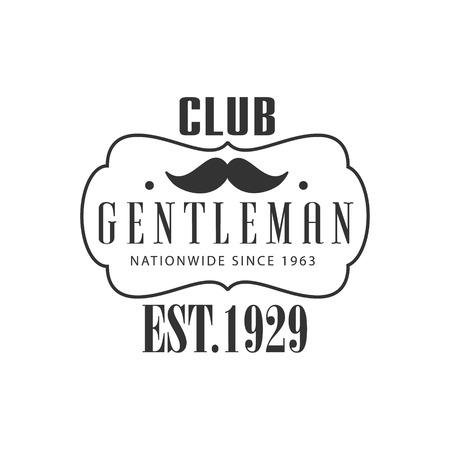 黒と白のグラフィック フラット ベクター デザインで全国の紳士クラブ ラベル  イラスト・ベクター素材