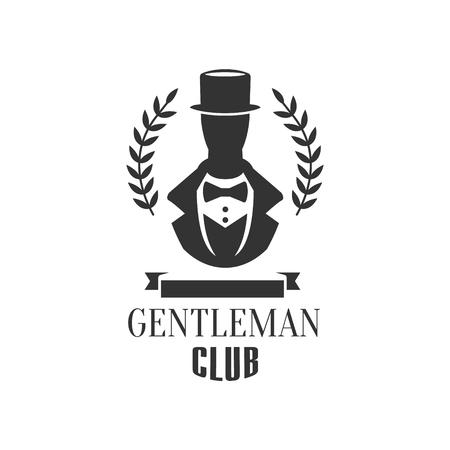 Etichetta del club del gentiluomo con la siluetta dell'uomo nella progettazione grafica piana in bianco e nero di vettore Vettoriali