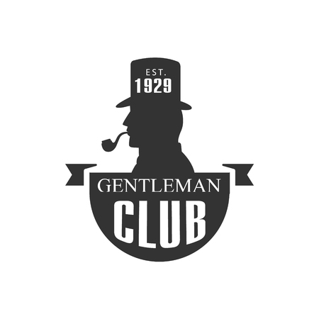 established: Gentleman Club Label With Man Profile In Black And White Graphic Flat Vector Design