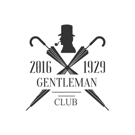 established: Gentleman Club Label With Crossed Umbrellas In Black And White Graphic Flat Vector Design