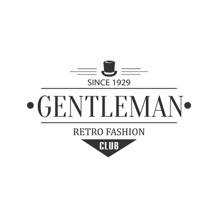 established: Retro Fashion Gentleman Club Label In Black And White Graphic Flat Vector Design Illustration