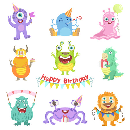 attributes: Friendly Monsters With Birthday Party Attributes Cute Childish Stickers. Flat Cartoon Colorful Alien Characters Isolated On White Background.