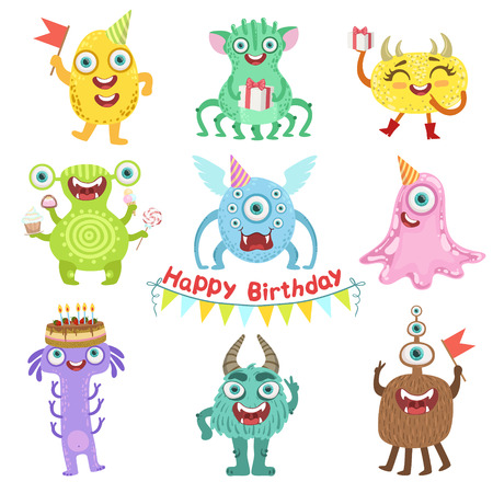 Sweet Monsters Happy With Birthday Party Objects Cute Childish Stickers. Flat Cartoon Colorful Alien Characters Isolated On White Background.