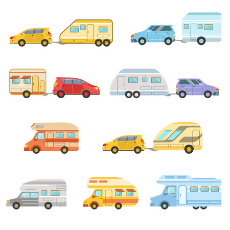 minivan: Colorful Rv Minivan With Trailer Set Of Icons. Family Motorhome Flat Colorful Car Set. Microbus For Family Vacation Set Of Isolated Illustrations.