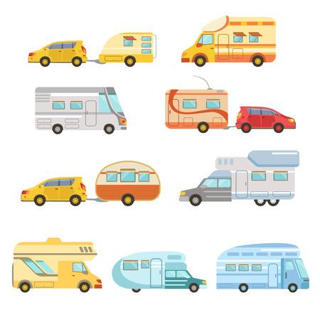 Camper furgonetas con remolque Conjunto De Iconos. Familia conjunto de autocaravana plana del coche colorido. Microbús para vacaciones familiares conjunto de ilustraciones aisladas.