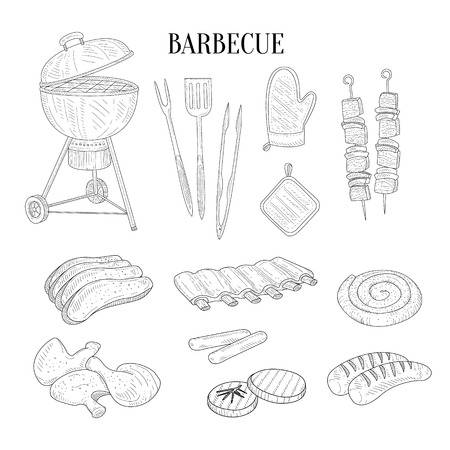 Barbecue Related Isolated Items And Food Hand Drawn Realistic Detailed Sketch In Classy Simple Pencil Style On White Background Illustration