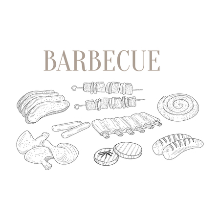 Meat For Barbecue Isolated Hand Drawn Realistic Detailed Sketch In Classy Simple Pencil Style On White Background